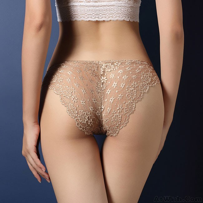 Mid Waist Hipster Panty with Printed Back in Beige